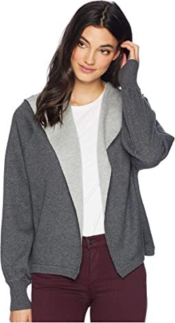 Luxe Cotton Blend Reversible Hooded Cardigan