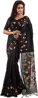 SareesofBengal Women's Handloom Matka Muslin Silk Jamdani Saree Black