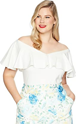 Plus Size Off Shoulder Ruffle Frenchie Knit Top