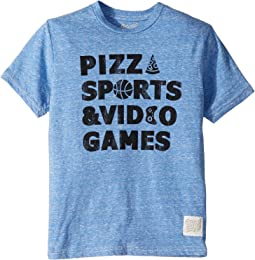 Pizza, Sports and Video Games Short Sleeve Tri-Blend Tee (Big Kids)