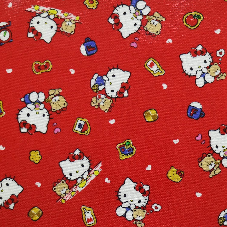 Kiyohara Sanrio Hello Kitty KT Cookie Dough Laminate 100% Cotton About 107cm Width × 50cm Cut col.RO red 740856