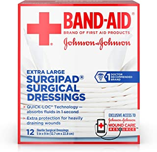 Band-Aid Brand Of First Aid Products Surgipad Surgical Dressings, 5 Inches By 9 Inches, 12 Count
