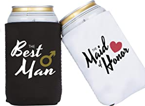 Tom Boy Best Man & Maid of Honor Coozie Can Cooler Sleeve - Set of 2 Neoprene Collapsible Coolie - Perfect for Bridesmaid Gifts, Groomsmen Gifts, Wedding Gifts, Bridal Shower Favors (12 oz 16 oz)