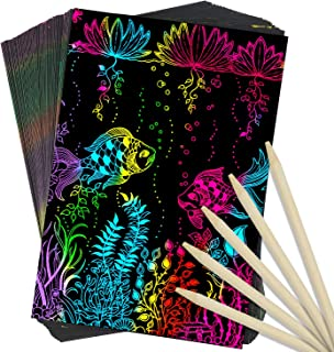 AUUGUU Scratch Art Craft Kit – 50 Scratchboard Pieces + 5 Wood Scratching Styluses for Creating Amazing Rainbow Relief Drawings – Kids Arts and Crafts for Boys and Girls Ages 4 Years and Up