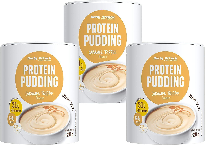 Body Attack budín de proteínas sin cocinar, 3x210g, Caramelo de caramelo, budín en polvo rico en proteínas, sin aspartamo