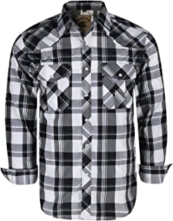 Men's Button Down Plaid Long Sleeve Work Casual Shirt