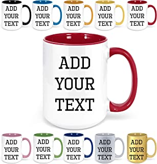 Custom Coffee Mugs - Personalized Coffee Mugs with Text, Customized Ceramic Coffee Mug - Customizable Mug, Funny Mug, Personalized Gifts, Custom Mug with Text - 15oz (Red)