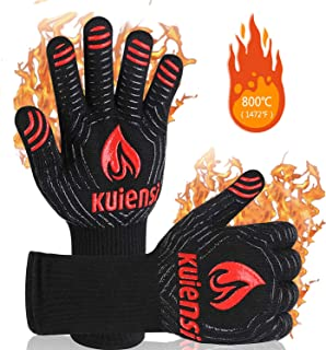 KUIENSI BBQ Gloves,1472°F Extreme Heat Resistant,Grill Gloves with Cut Resistant, EN407 Certified,Combination of Cotton,Non-Slip Gloves, 14 Inch Designed for Barbecue Baking (1 Pair)