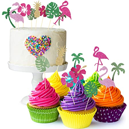 60 Pieces Hawaii Summer Cupcake Wrappers and Toppers Flamingo Pineapple Palm Tree Fruits Cake Decorations for Luau Tropical Party Birthday Baby Shower PartySupplies