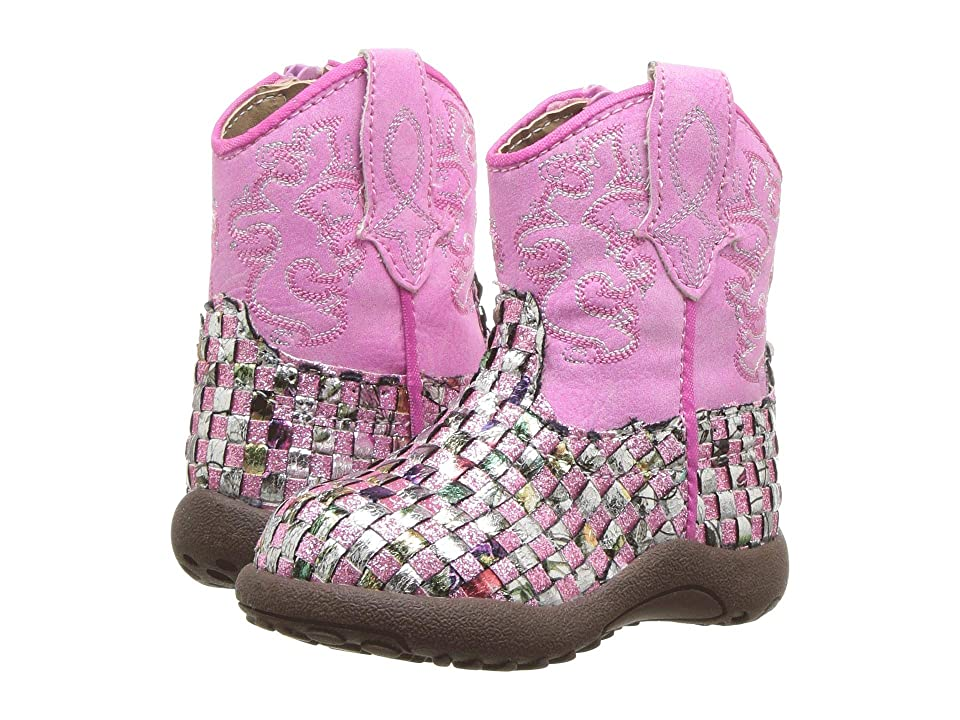 Roper Kids Western Braid (Infant/Toddler) (Pink Multicolored Glitter Vamp) Cowboy Boots