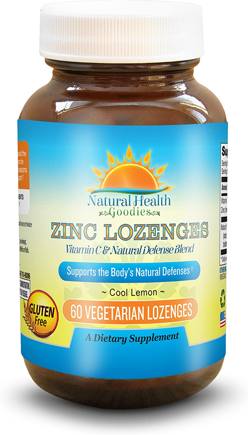 Zinc Lozenge with Vitamin C for Immune Support - 60 Easy Dissolve Chewable Zn Gluconate Tablets from Natural Health Goodies: Health & Personal Care