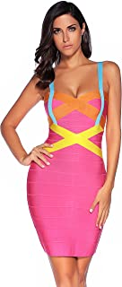 7264d6a20eba2 Meilun Women's Celebrity Bandage Bodycon Dress Strap Party Pencil Dress