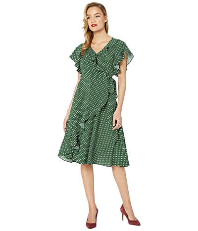Unique Vintage 1940s Crane Print Luella Wrap Dress (Green/White Dot) Women