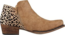 Tan Faux Leather Vamp/Leopard Print Heel