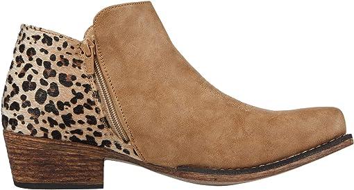 Tan Faux Leather Vamp/Leopard Print Heel
