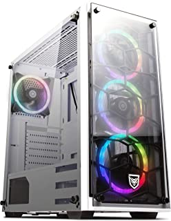 Nfortec Draco V2 Torre Gaming Negra RGB Diseño Full View (Cristal Templado) con 4 Ventiladores RGB y Controlador Inalámbrico Color Blanco