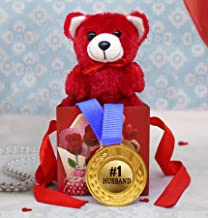 TIED RIBBONS Valentines Gifts for Husband - Gift Combo Pack ( Gold Medal with Cute Teddy in Gift Box )