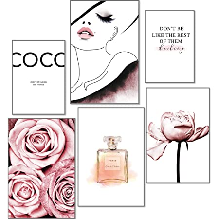 artpin® Lot de 6 affiches design pour décoration murale de salon et chambre à coucher Motif rose de coco Format A3 et 2 formats A4 Env. 30 x 42 & 21 x 30 cm