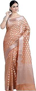 ساري بناراسي هندي عرقي من القطن والحرير من Chandrakala's مع بلوزة غير مخيطة (1105)