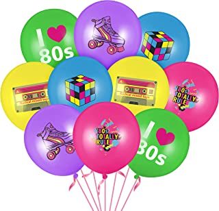WATINC 52pcs I Love 80s Latex Balloons Set for 1980s Retro Party Decoration, Various Color Balloons for Rock and Roll Them...