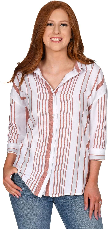 UG Apparel NCAA Womens Striped Button-Up