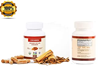 Cocabien - Organic Ceylon Cinnamon Capsules - Extra Strength 500mg - Supports Healthy Metabolism, Blood Sugar Levels, Anti-Inflammatory, Joint Pain Relief, Heart Health Supplement Pills - 60 Capsules