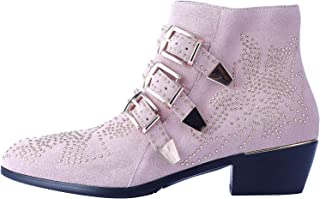 Boots for Women,Women's Leather Boot Rivets Studded Shoes Metal Buckle Low Heels Ankle Studded Booties
