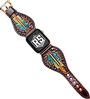 Western Series Watch Band Compatible with Apple Watches   Tear Drop Brown Tricolor Feather Rose Gold Adaptor and Buckle 42MM   Handmade and Tooled Leather Watch Band for Men and Women