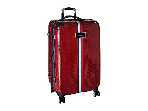 "Basketweave 25"" Upright Suitcase, RED"