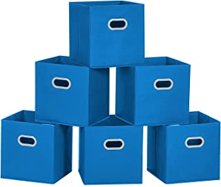 MaidMAX Cloth Storage Bins Cubes Baskets Containers with Dual Plastic Handles for Home Closet Bedroom Drawers Organizers, Flodable, Ocean Blue, Set of 6