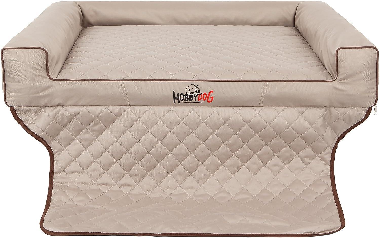 HOBBYDOG R2 Viki Dog Basket Bed Sofa Suitable for Trunks, 100 x 80 cm, Beige