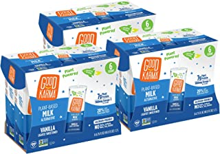 Good Karma Plant-Powered Flaxmilk, Vanilla Lightly Sweetened, 6.75 oz Lunchbox Carton (Pack of 18) Dairy-Free, Plant Based Milk Alternative