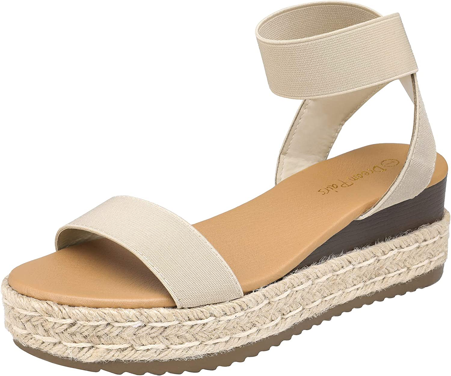 NEW before selling DREAM PAIRS Women's Ankle Max 44% OFF Strap Platform Wedges Espadrilles Sand