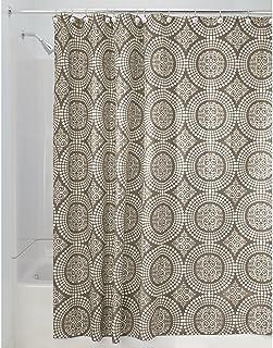InterDesign Medallion Cortina de baño textil   Cortina para baño de 183 cm x 183 cm para bañera y plato de ducha   Cortina de ducha con borde superior reforzado   Poliéster marrón