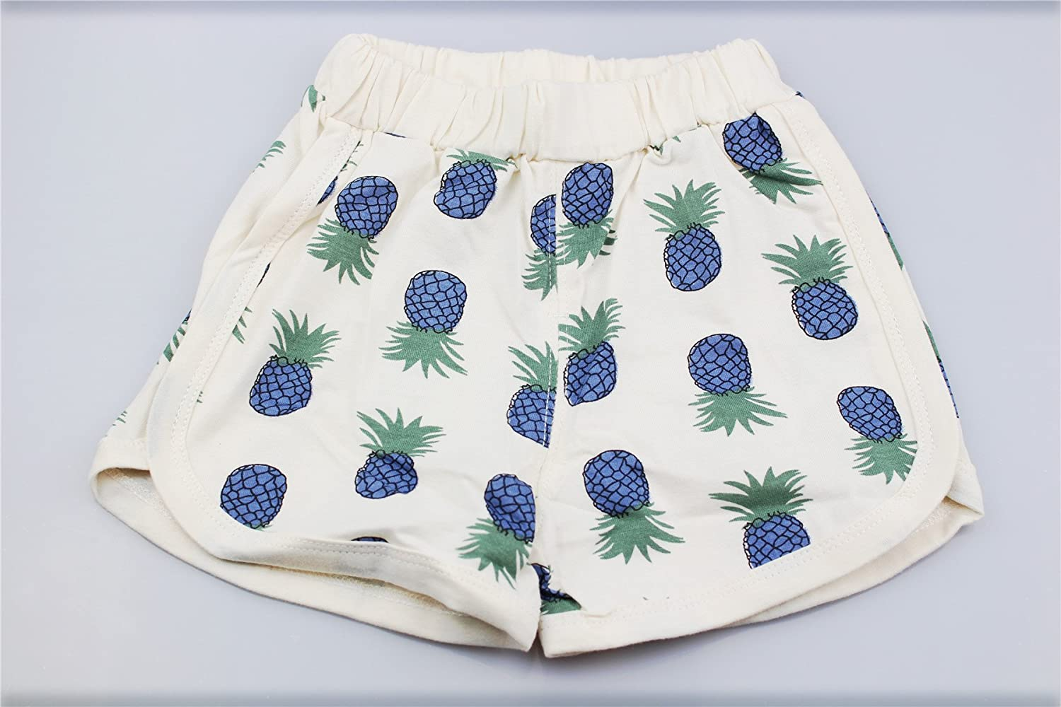DoMii Infant Baby Boy Girl Summer Clothes Cute Pineapple Cherry Print Outfit Cotton Tee and Shorts Set