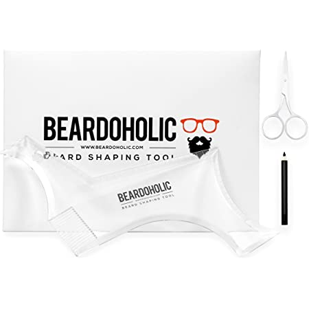 Beardoholic Beard Shaping Tool – 9-in-1 Completely Transparent Design – Achieve Perfectly Precise Lines and Any Beard Shape – Lineup Pencil, Built-In Comb and Trimming Scissors for Maximum Accuracy