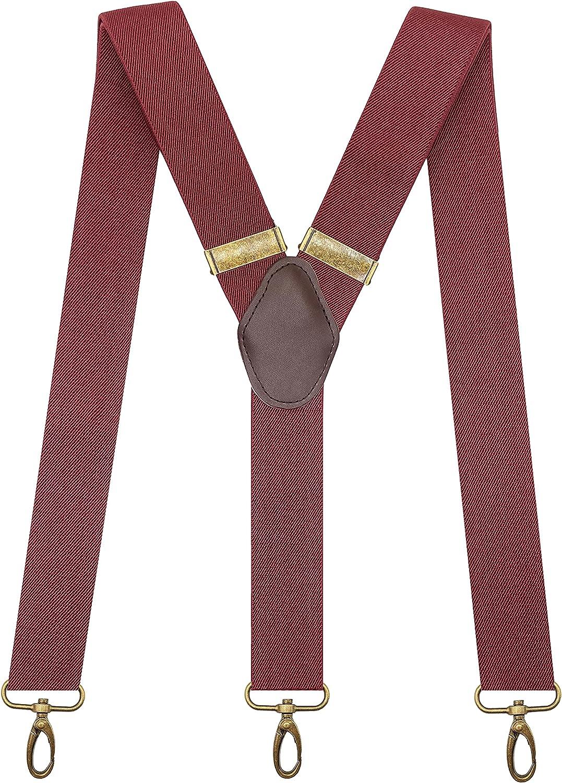 KRICJYH Mens Suspenders Swivel Hooks Vintage Y Style Adjustable Heavy Duty Straps