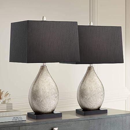 Amazon Com Signature Design By Ashley Saria Table Lamp Scultptural Base Antique Silver Finish Home Kitchen