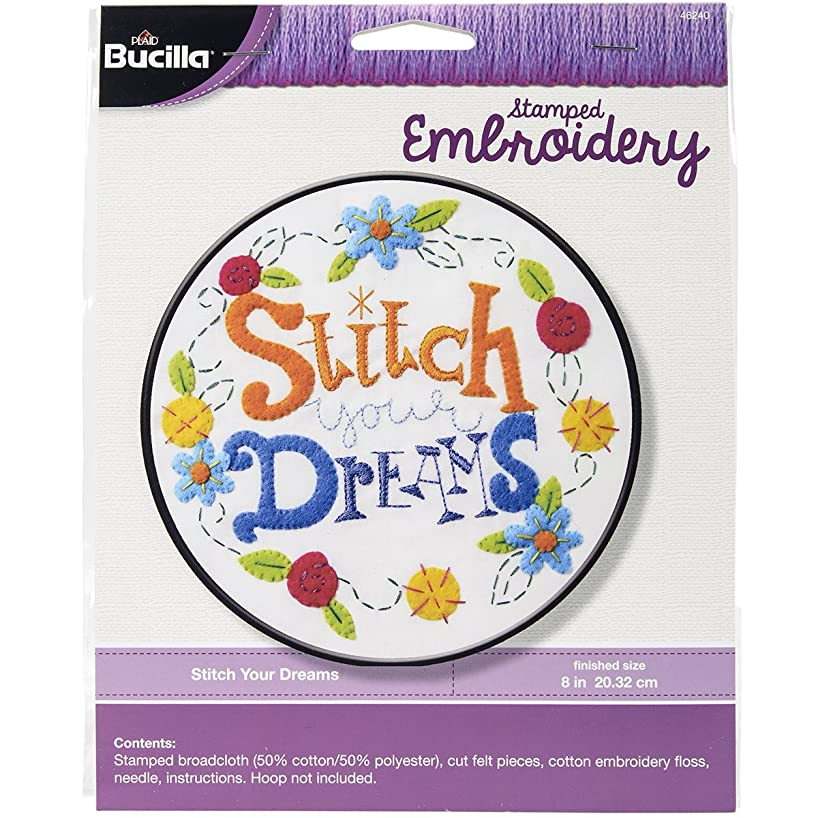 Bucilla Stamped Embroidery Stitch Kit, 8-Inch, 46240 Your Dreams
