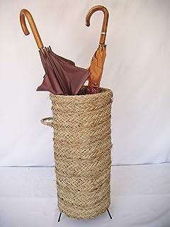 Sillas y Mesas Peña Paragüero Artesanal Hecho con Esparto y armazón de forja. Medidas: 24cm diámetro / 50cm Altura.