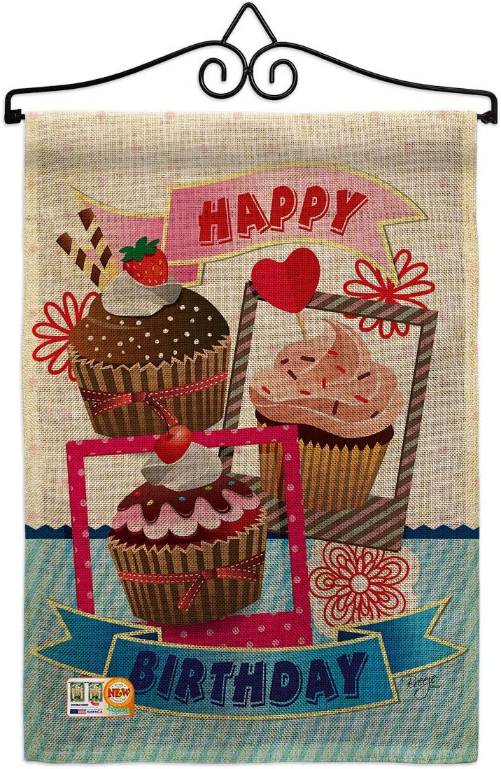 Breeze Decor In stock Birthday Cupcake Garden Superior Wall Set Hanger Celebr Flag