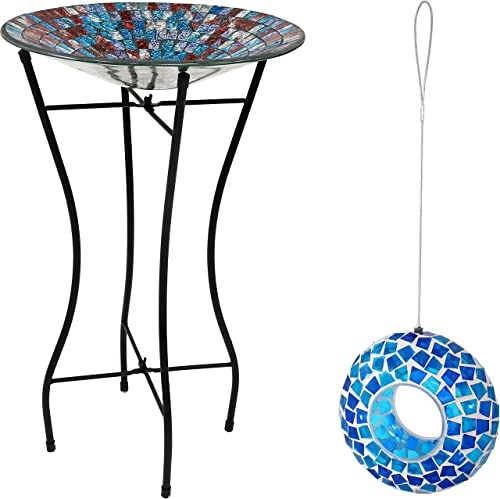 2021 Sunnydaze 14-Inch Diameter Outdoor Multicolored Glass Mosaic Tile Bird Bath with Stand and sale 2021 6-Inch Diameter Round Outdoor Blue Glass Mosaic Tile Bird Feeder Bundle outlet sale