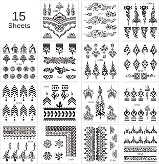Lady Up Black Henna Temporary Tattoo, Arabian Art Finger knuckle Designs Tattoos (15 Sheets)