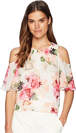 Printed Cold Shoulder Blouse