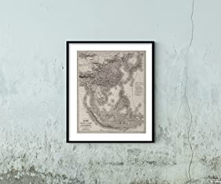 1875 Map|World Atlas Southeast Asia, Japan, China, and East Indies|Historic Antique Vintage Reprint|Size: 20x24|Ready to Frame