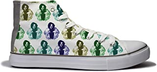 Rivir Latest & Stylish Printed Canvas High Top Sneakers Shoes for Men & Women (Men-UK-6) White