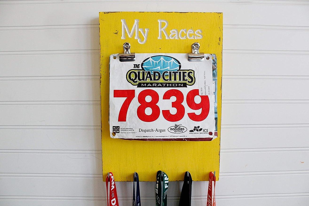 My Races Running Medal Holder - Carved Sign - Race Medal Holder- Bib Holder