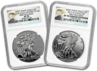 2013 2-Coin Silver Eagle Set SP/PF-70 NGC (ER/FR, West Point) MS-70