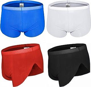 sandbank Men's Briefs Ice Silk Transparent Mesh Underwear Sheer Sexy Bikini Boxer Shorts Panties