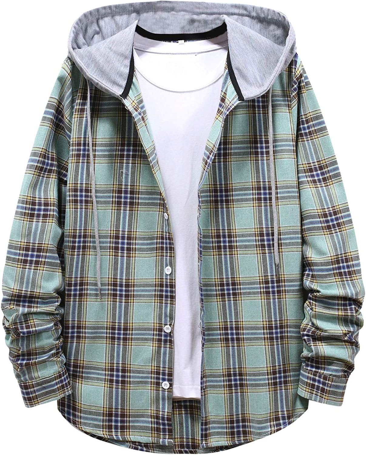 Large Size Hooded Coat for Men Fashion Plaid Button Down Loose Sporty Outwear Casual Cotton Sweatshirt